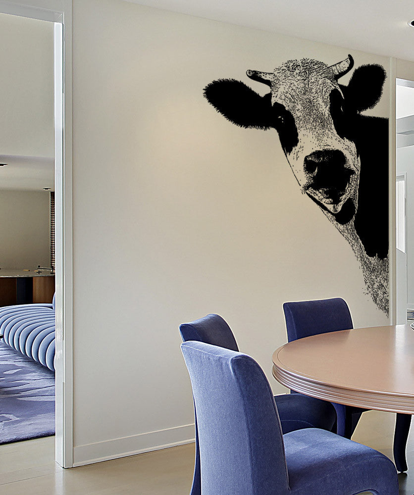 Vinyl Wall Decal Sticker Peeking Cow 5476