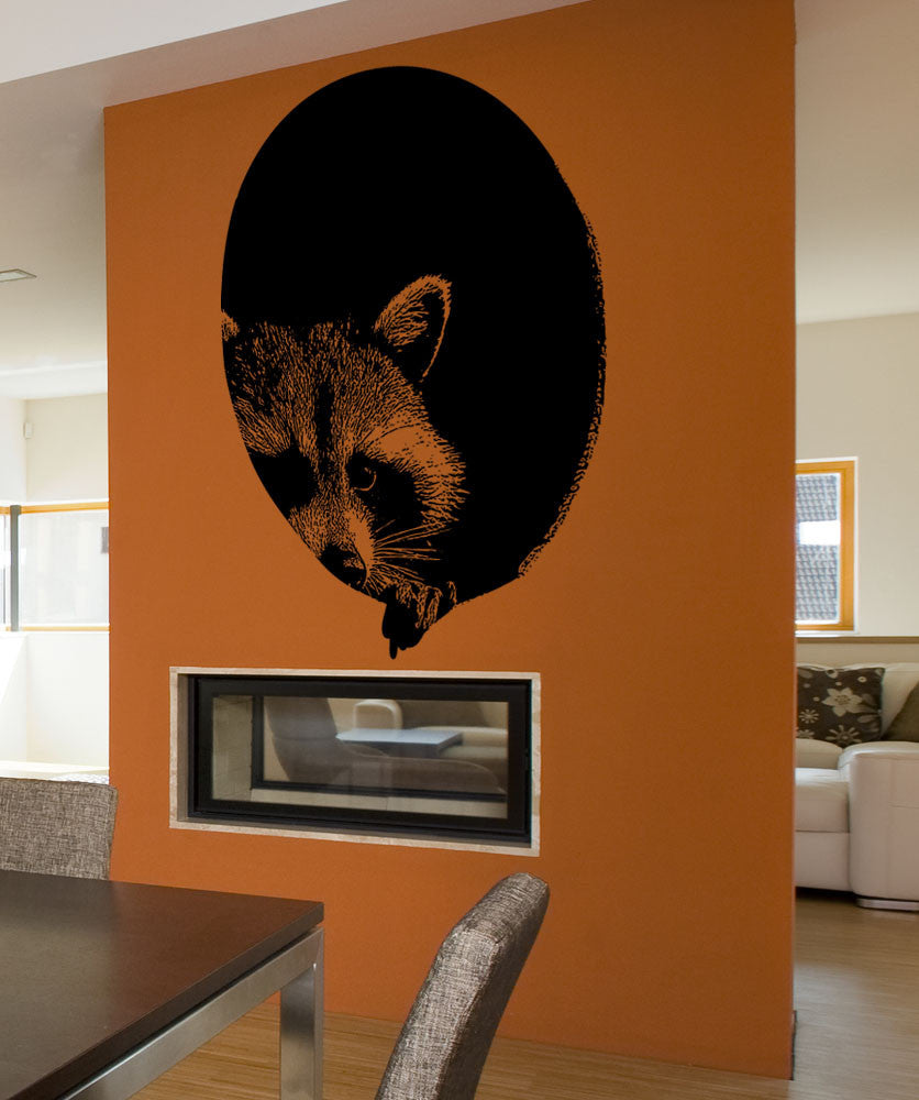 Vinyl Wall Decal Sticker Peeking Raccoon #5482