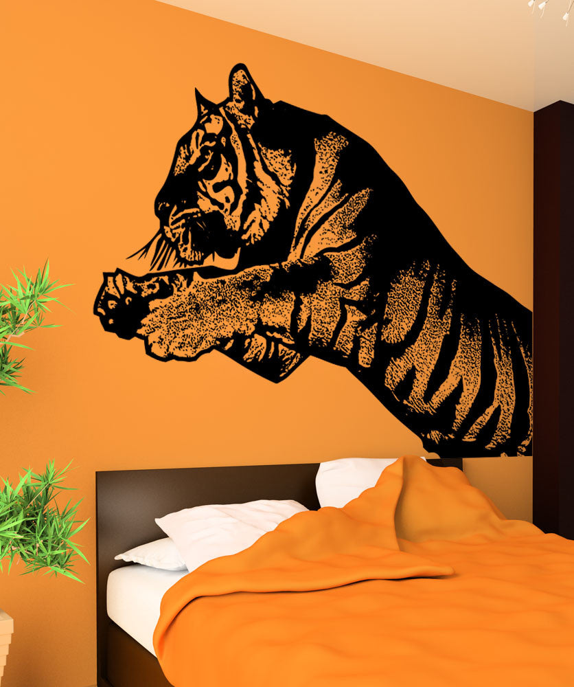 Vinyl Wall Decal Sticker Leaping Tiger 5483
