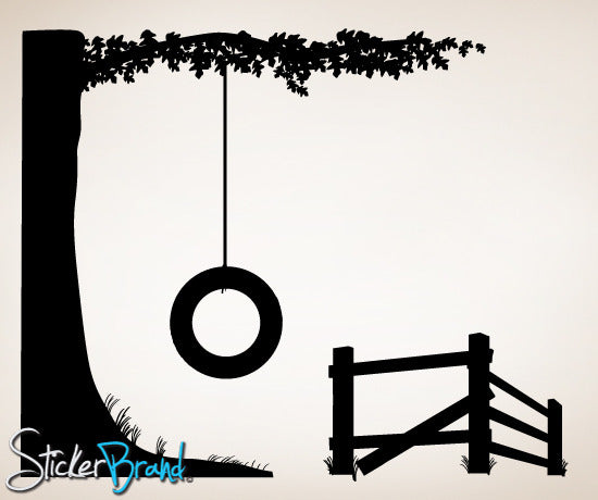 Vinyl Wall Decal Tire Swing #CMunn102