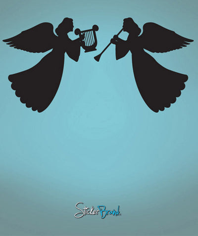 Vinyl Wall Decal Angels Trumpets Hearts #556