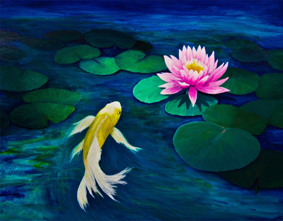 Koi Fish With Pink Water Lily Painting Wall Mural 6000