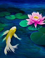Wall Mural Decal Sticker Koi Fish Pink Water Lily Painting #6000