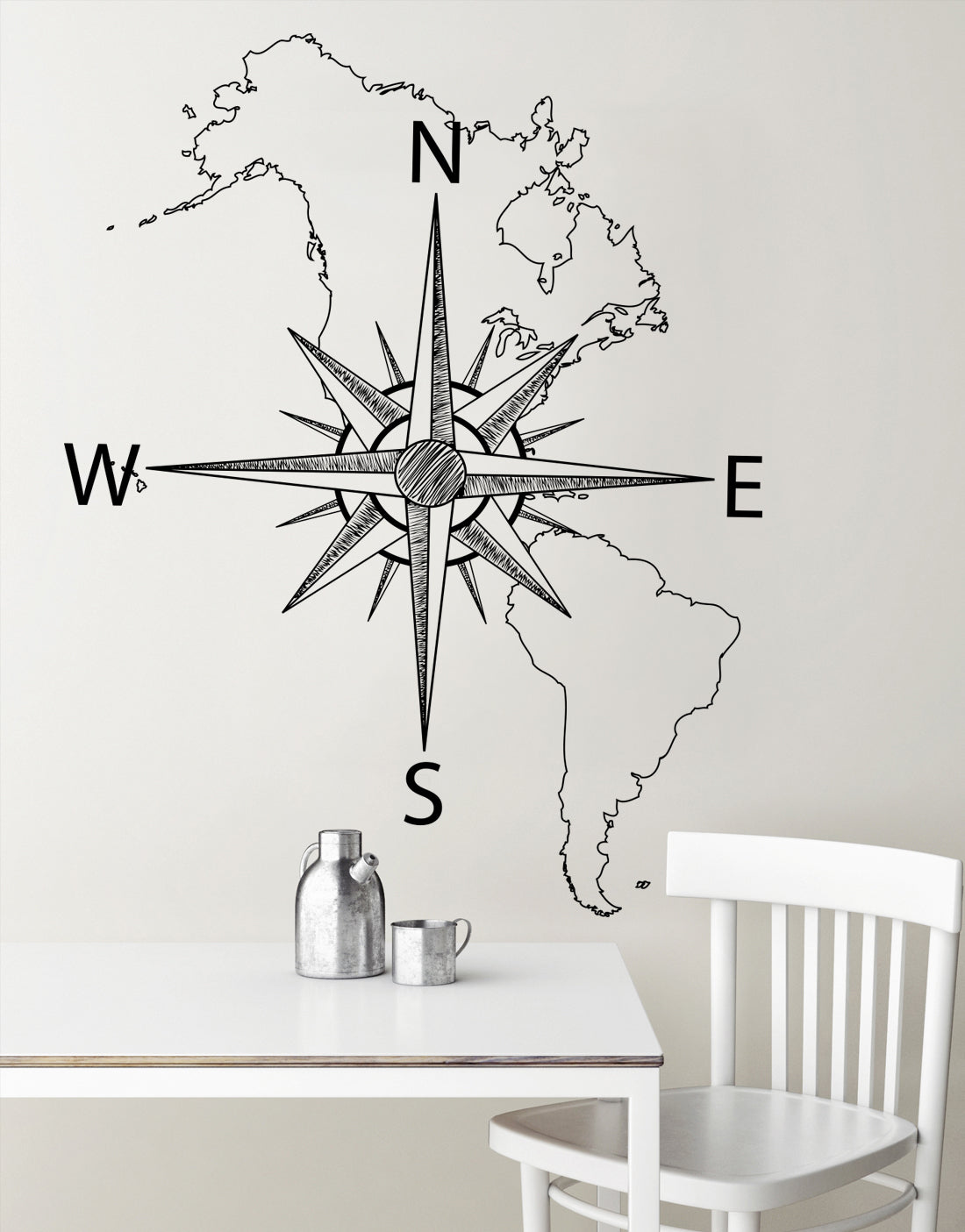 nautical map of north south america w compass vinyl wall decal 6018