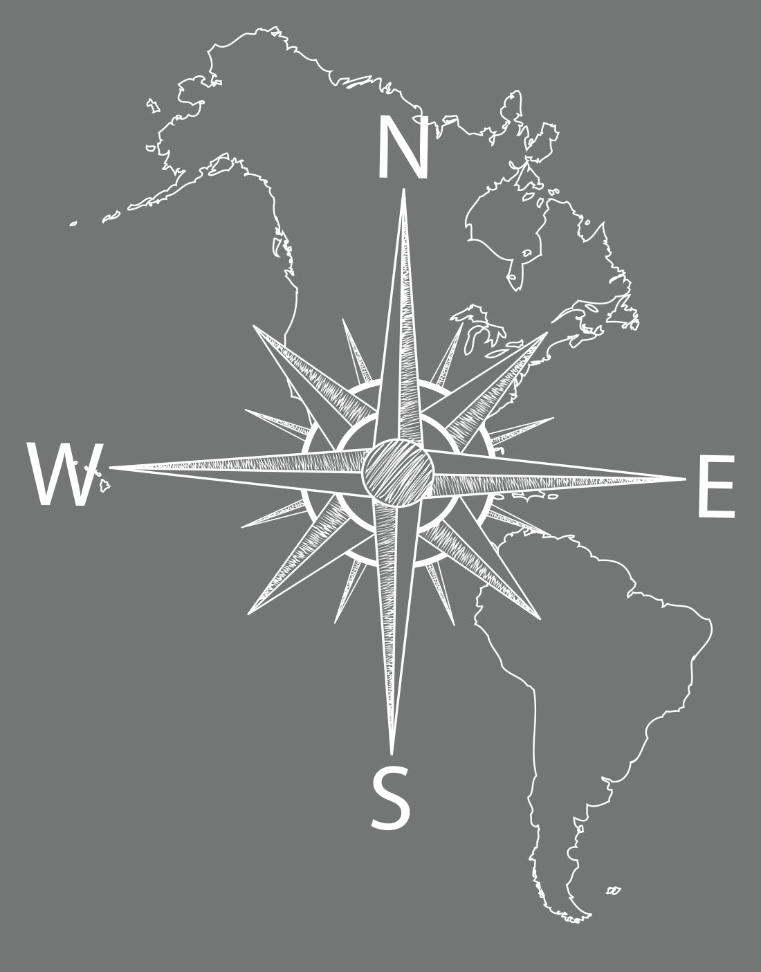 America Map With Compass.Nautical Map Of North South America W Compass Vinyl Wall Decal 601