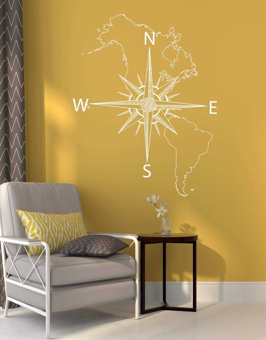 Nautical Map of North & South America w/ Compass Vinyl Wall Decal #601