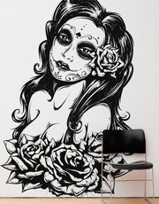 Mexican Day of the Dead Sexy Girl Vinyl Wall Decal Sticker  #6021