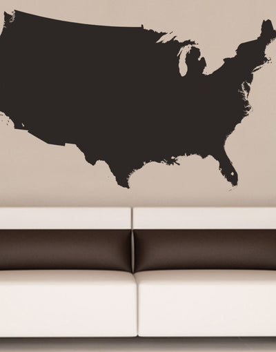 USA Map With State Borderline Vinyl Wall Decal - Sticker us map
