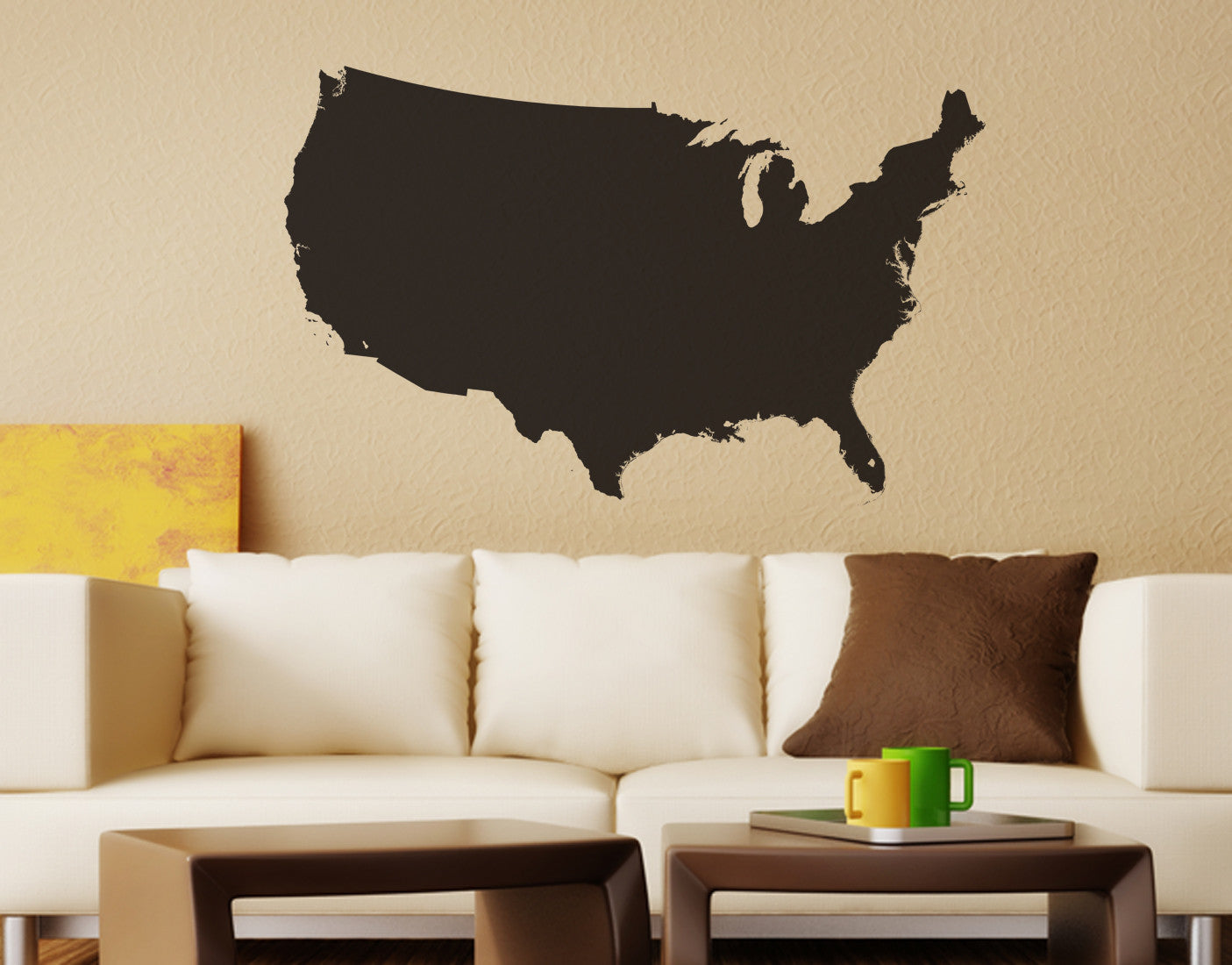 United States Of America USA Map Vinyl Wall Decal - Us map wall decal