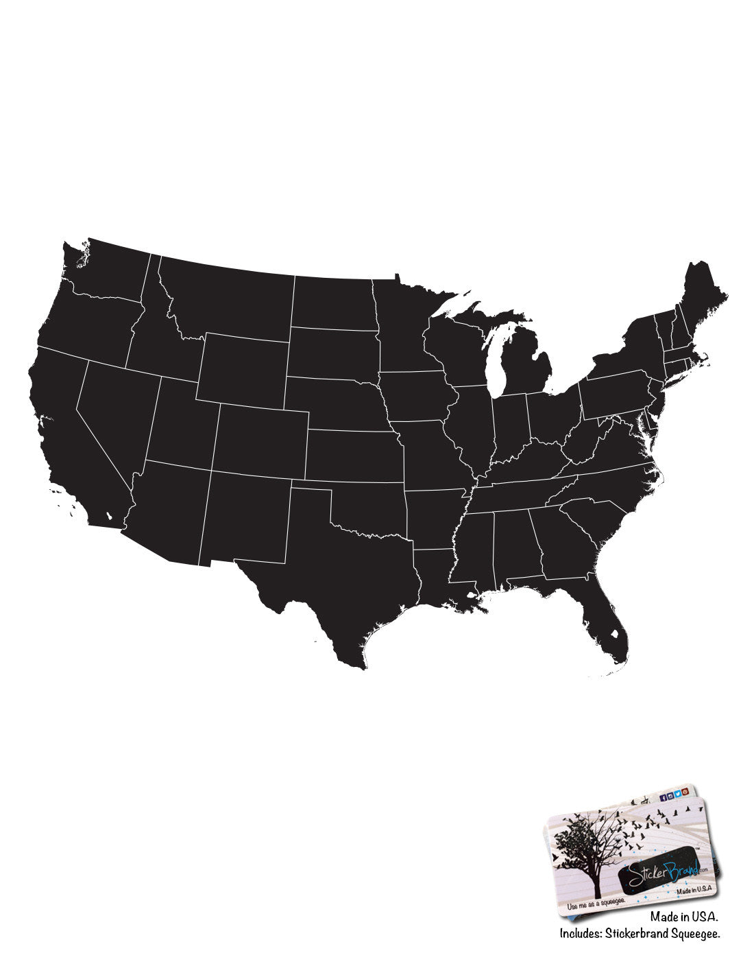 usa map with state borderline vinyl wall decal 6030