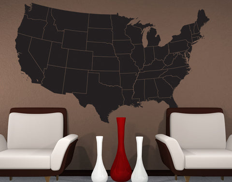 USA Map with State Borderline Vinyl Wall Decal  #6030