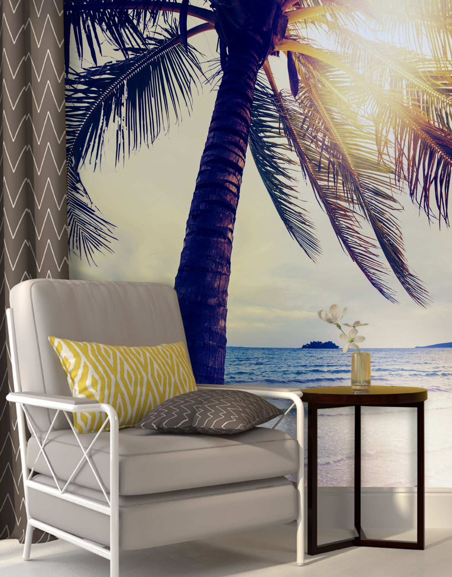Beach Palm Tree Coastline Sunset Wall Mural #6040
