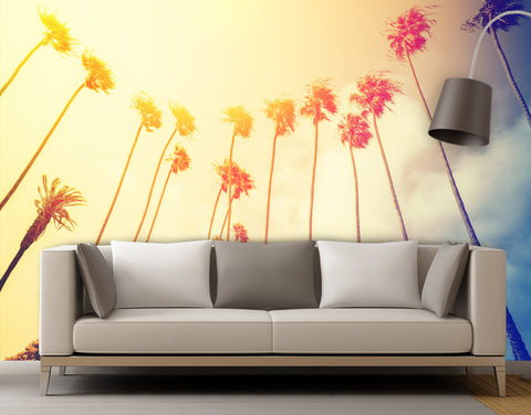 Retro California Sunset Palmtree Wall Mural #6050