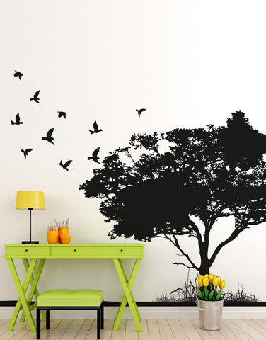 Flying Birds on Tree Wall Decal #6054
