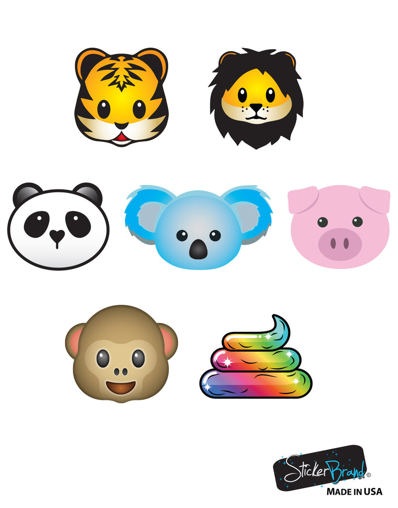 7 Large Emoji Animal Faces Wall Graphic Decal Sticker 6057