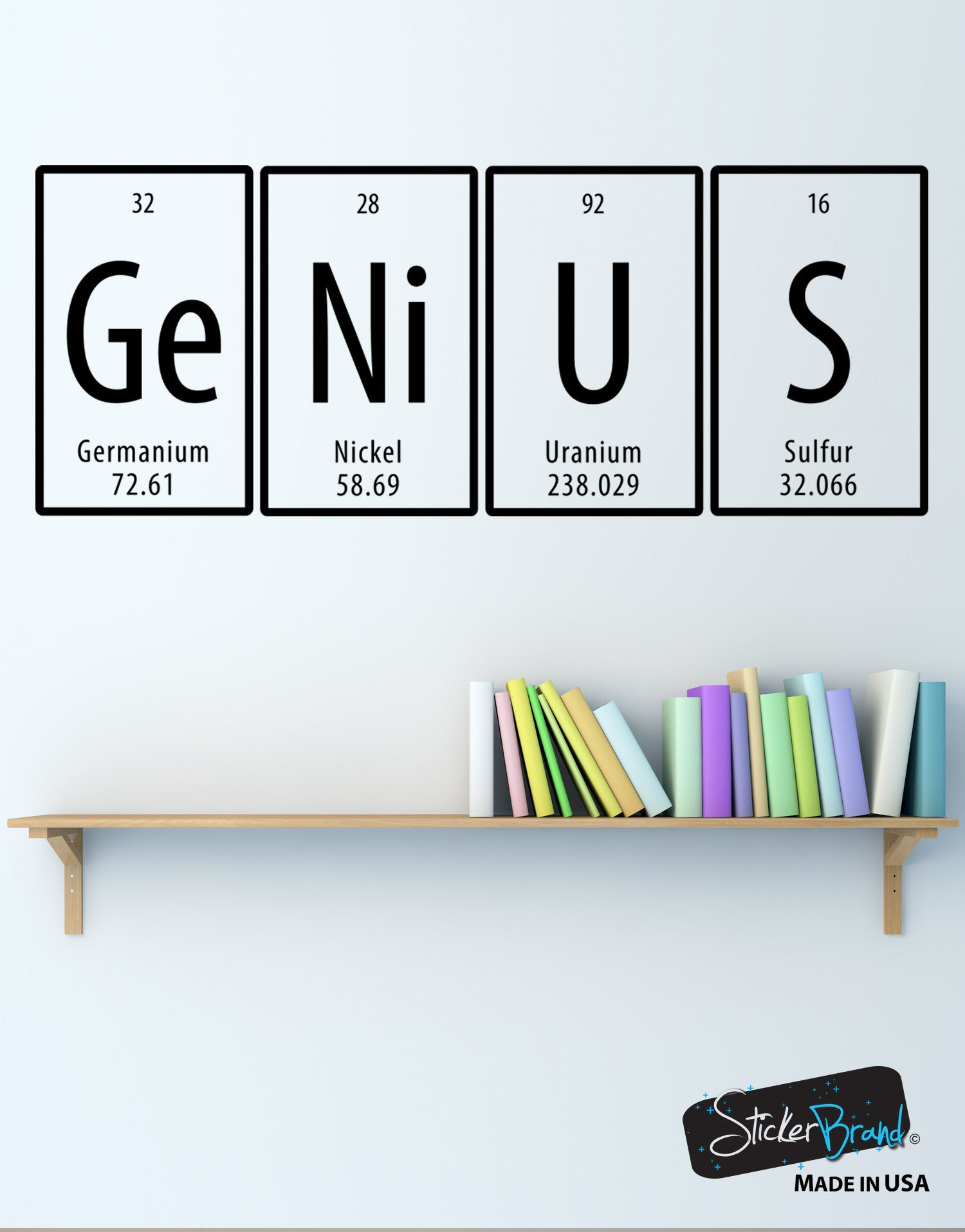 Wall decals for home wall vinyl stickers vinyl art decals genius quote periodic table vinyl wall decal sticker 6058 gamestrikefo Choice Image