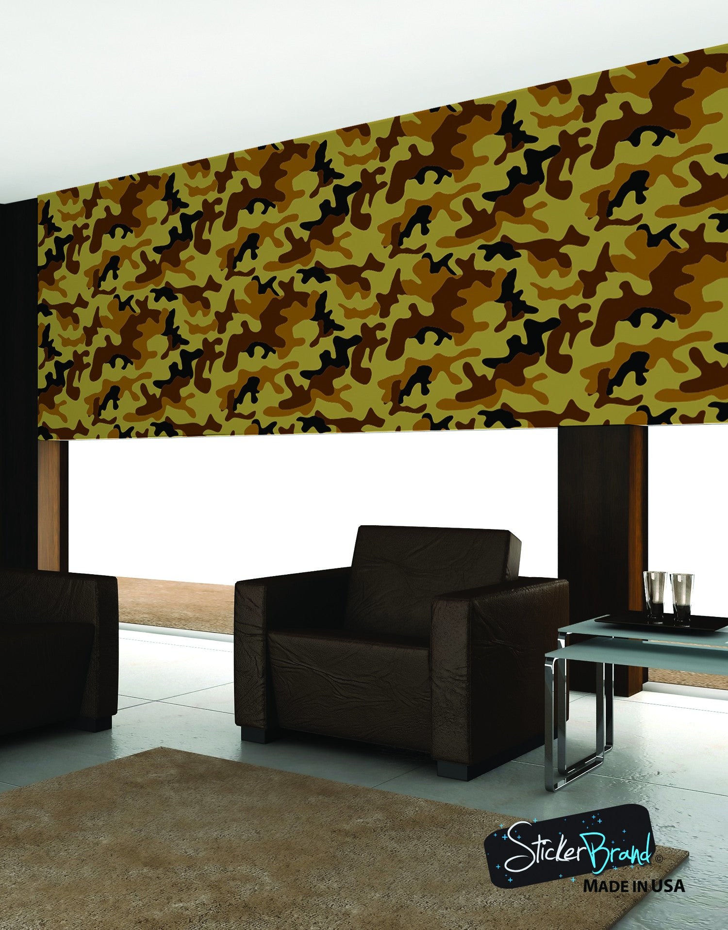 Desert brown military camo camouflage wall mural 6062 for Camouflage wall mural