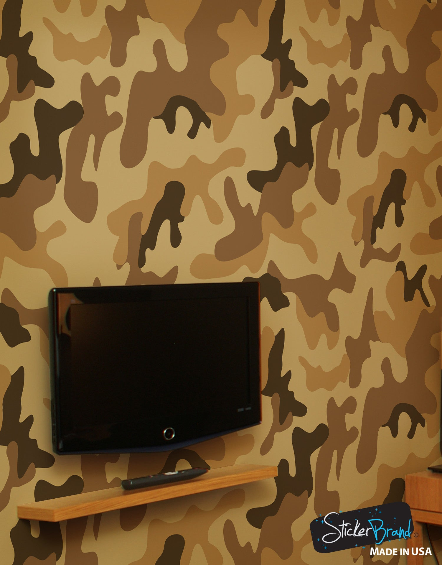Peel and stick wall murals removable wall murals for Camouflage wall mural