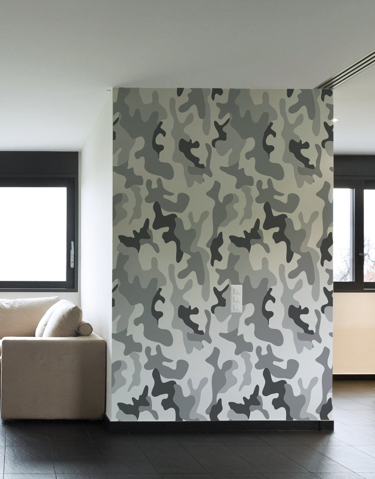Urban Gray Military Combat Camo Camouflage Wall Mural #6063