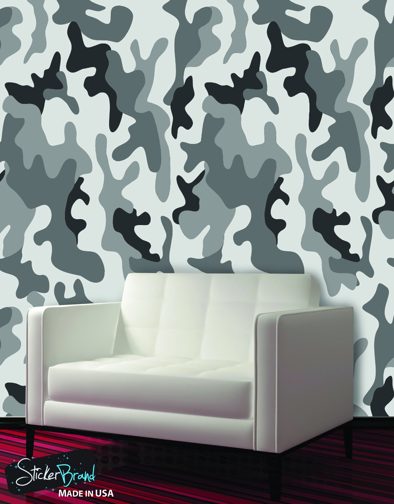 Urban gray military combat camo camouflage wall mural 6063 for Camo mural wall