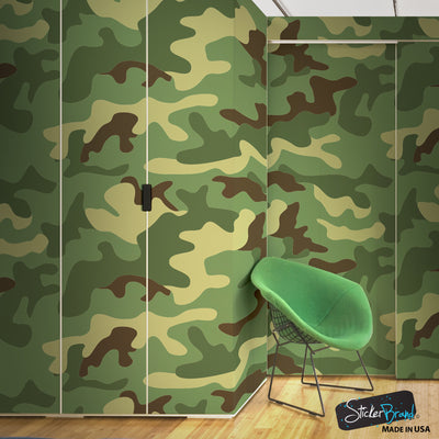 Woodland Green Military Combat Camo Camouflage Wall Mural #6064