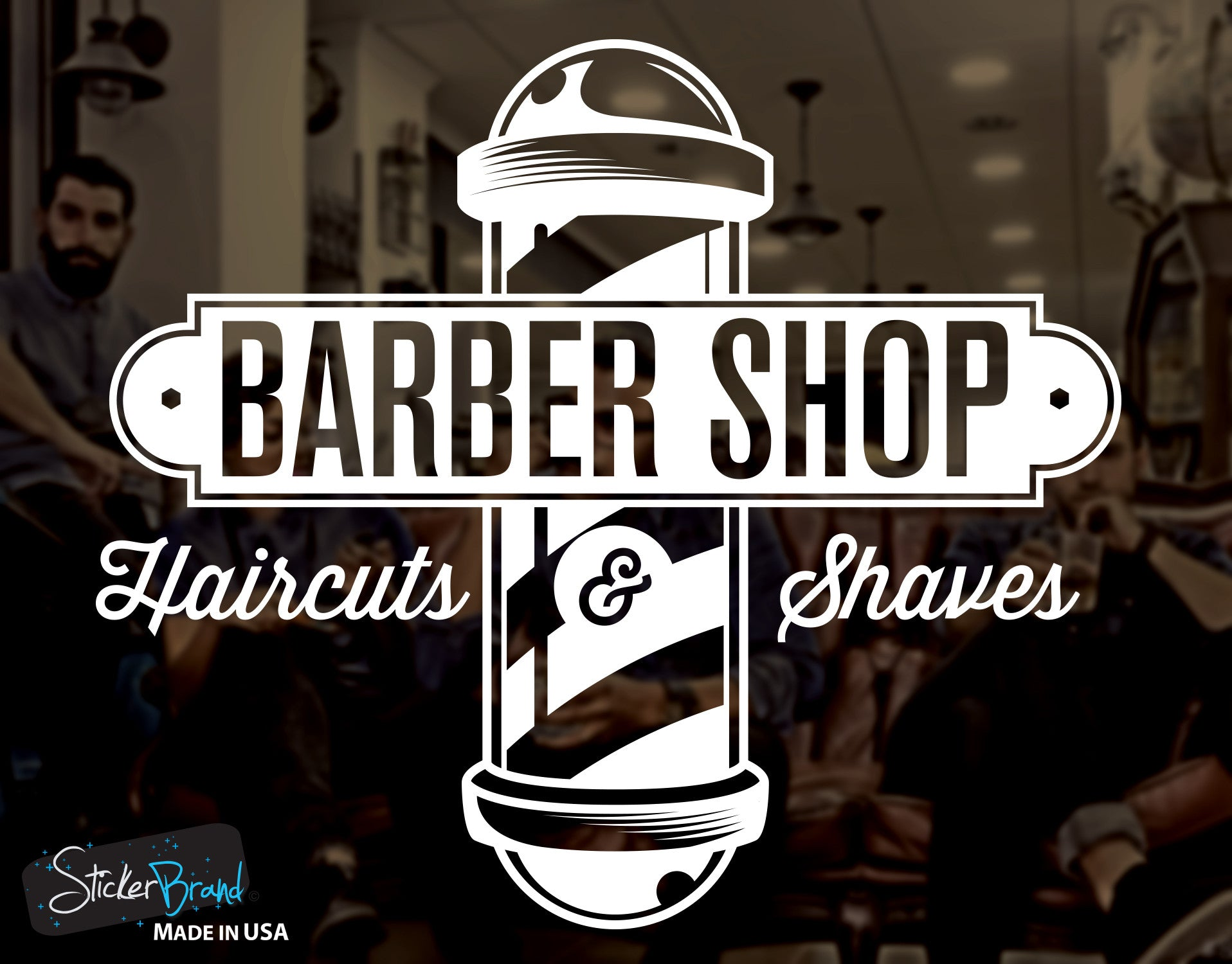 Barbershop Sign Haircuts And Shaves Vinyl Wall Decal Sticker 6066