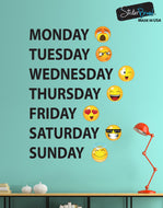 Days of the Week Emojis Vinyl Wall Decal Sticker #6071