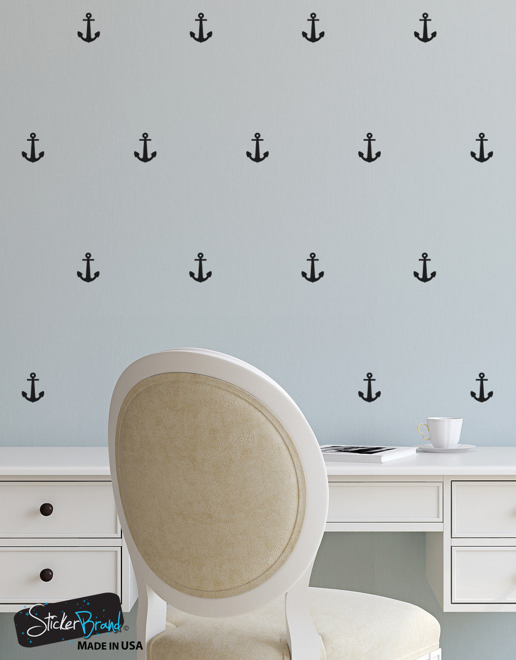 Nautical Wall Stickers Part - 40: Anchor Patterns Vinyl Wall Decal Sticker #6075