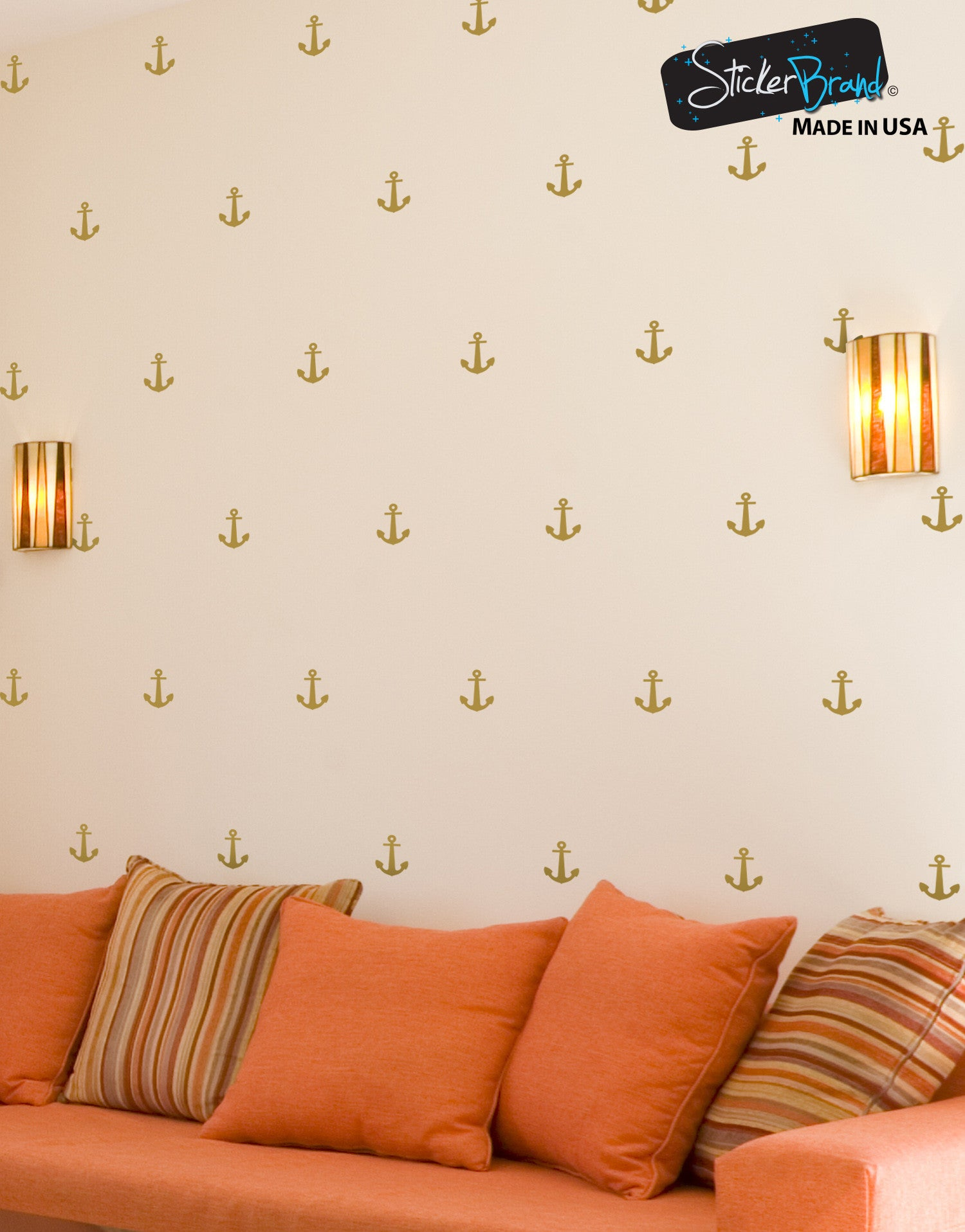 Anchor wall decals nautical wall stickers stickerbrand anchor patterns vinyl wall decal sticker 6075 amipublicfo Image collections