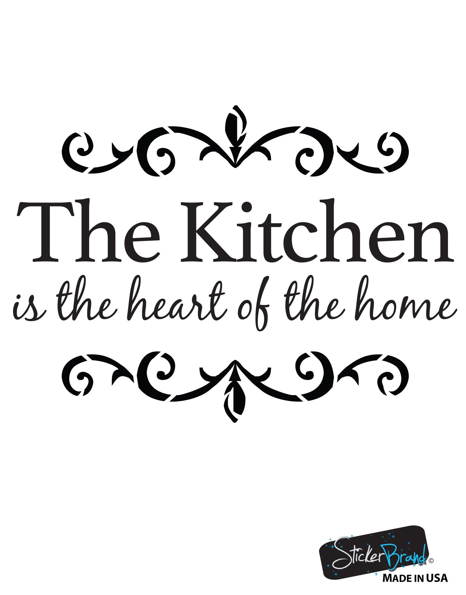 the kitchen is the heart of the home quote vinyl wall decal 6079. Black Bedroom Furniture Sets. Home Design Ideas