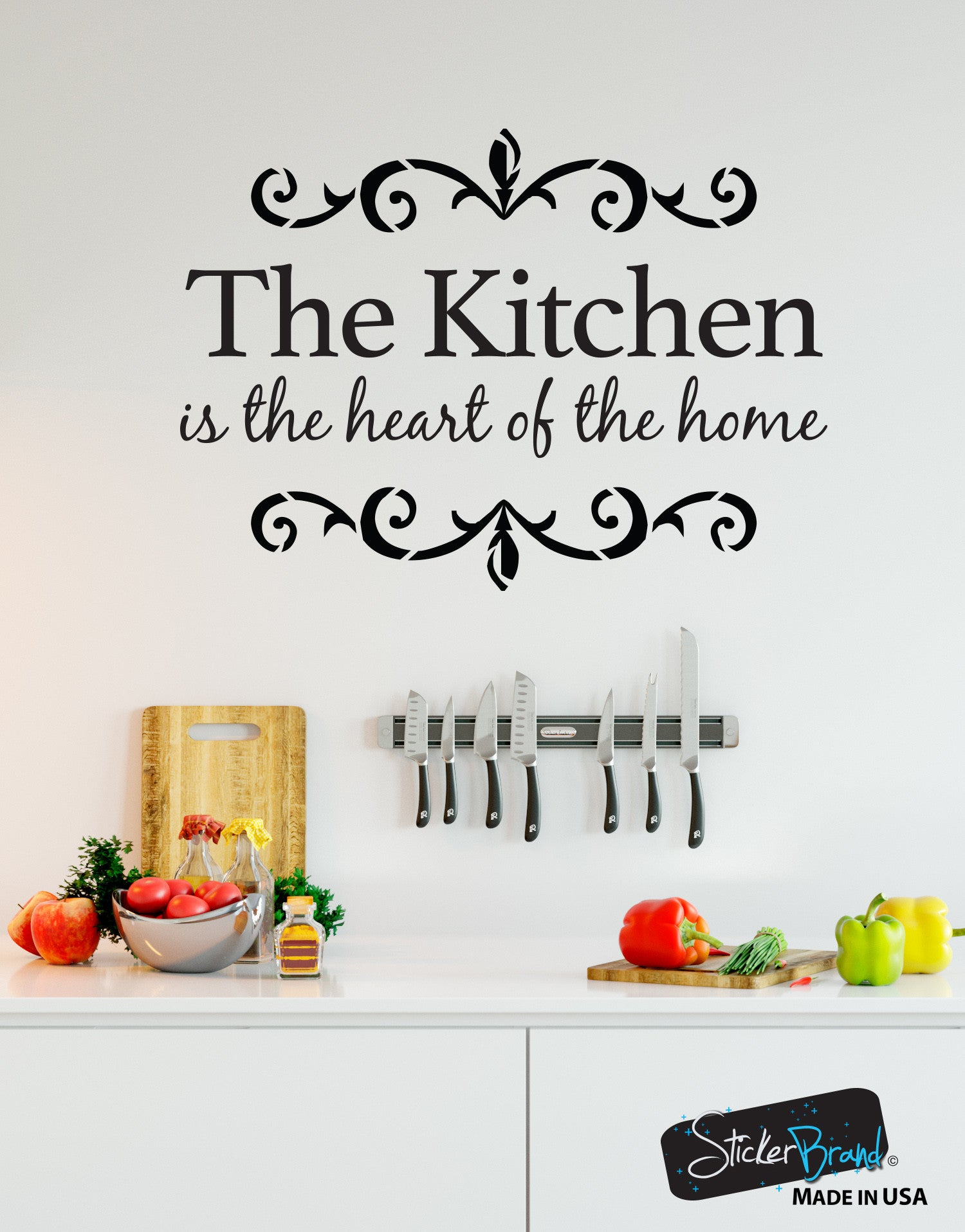 The Kitchen is the Heart of the Home Quote Vinyl Wall Decal #6079
