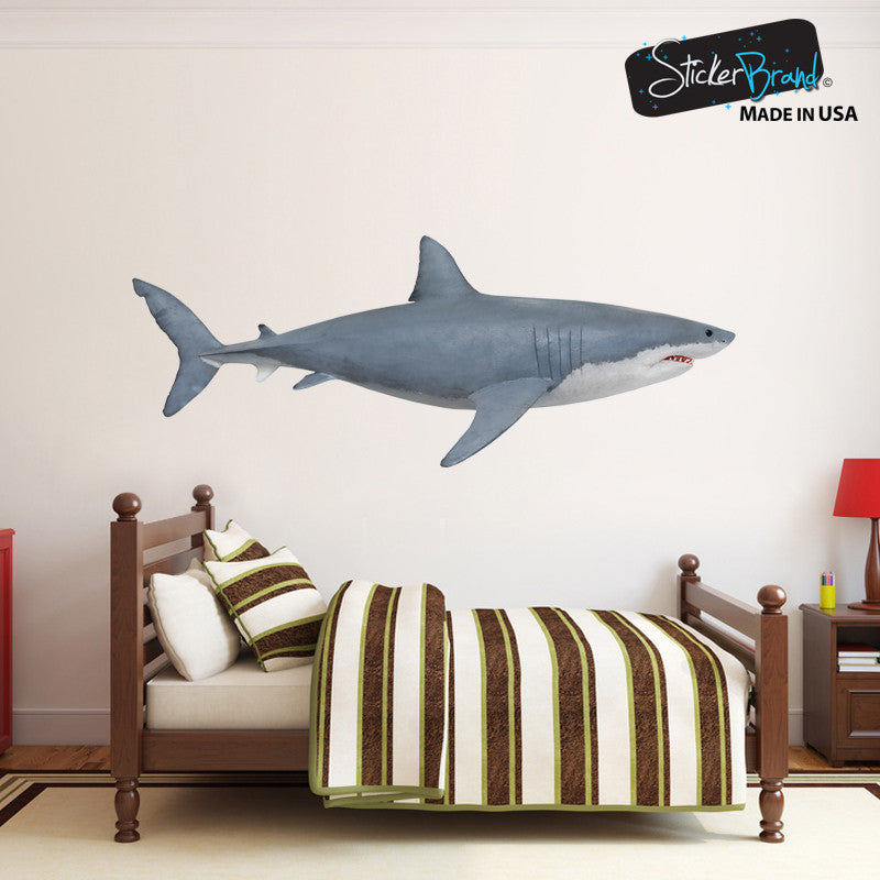 Merveilleux Great White Shark Wall Decal Graphic Sticker Side View #6084