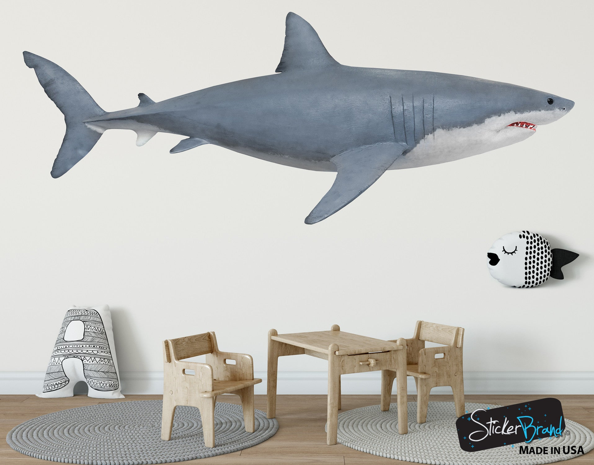 Great white shark wall decal shark vinyl decals great white shark wall decal graphic sticker side view 6084 amipublicfo Choice Image