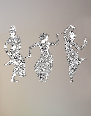 Large Hanna Indian Dancer Graphic Wall Decal Stickers (Set of 3) #6085