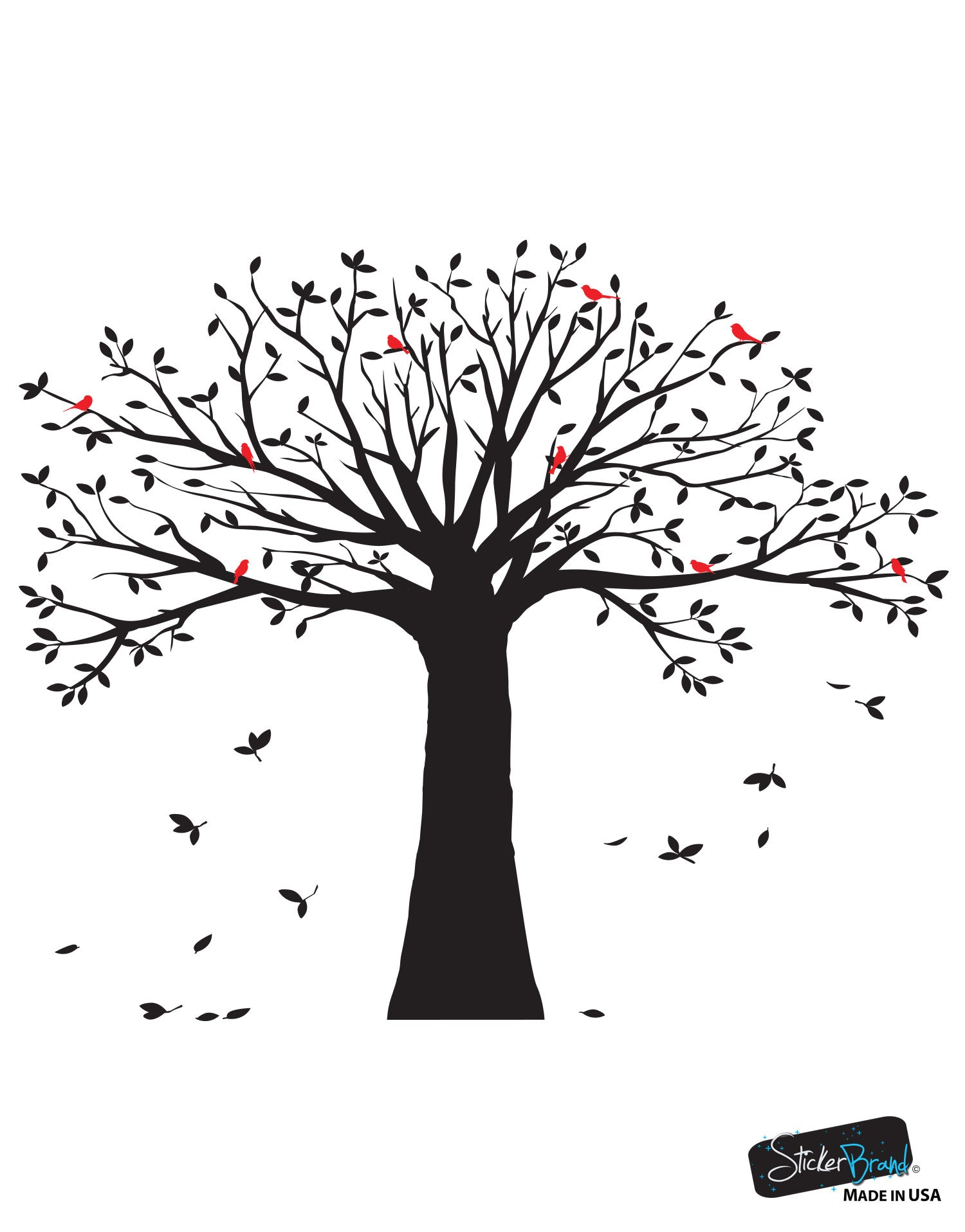 Family Tree With Birds Wall Decal Sticker 6087