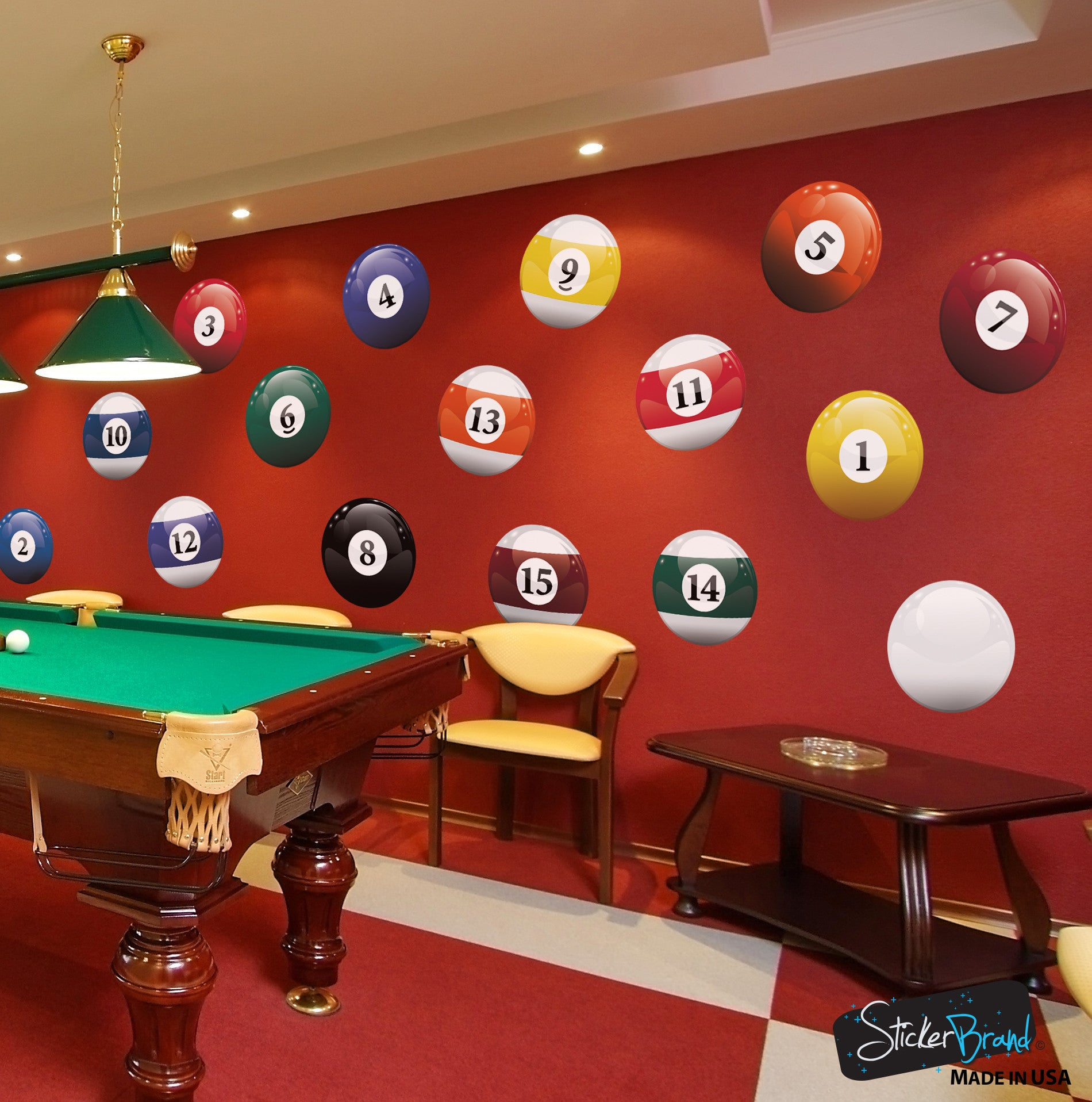 Realistic Color Billiard Balls Wall Decal Sticker 6089