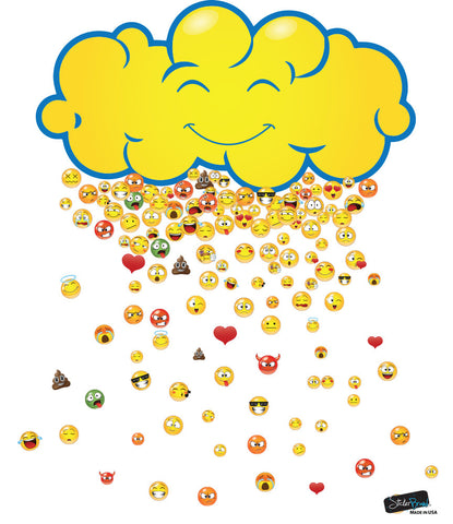 Happy Cloud Raining 200 Emojis Graphic Decal #6093