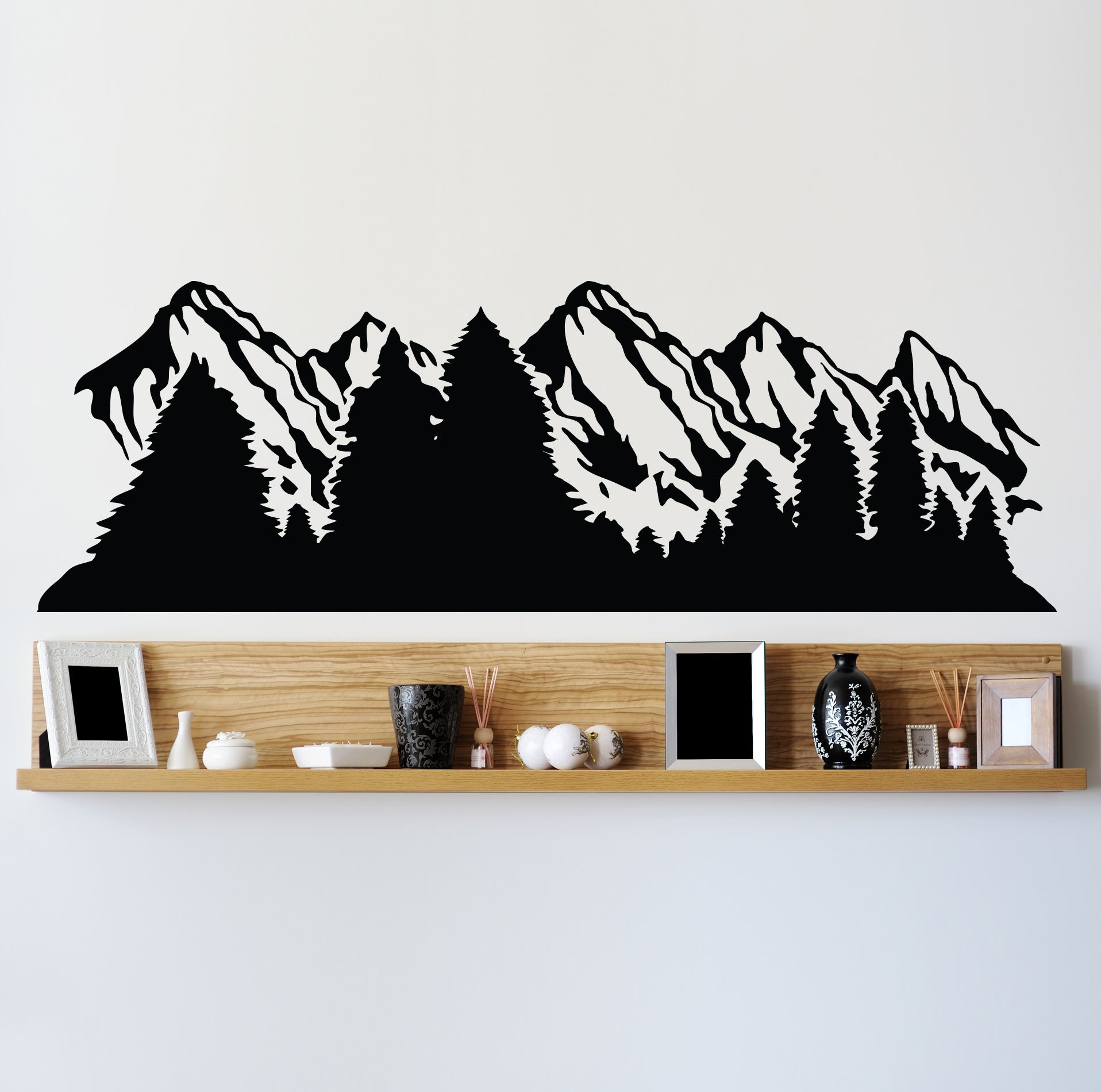 Alaska Snow Mountain and Forest View Wall Decal Sticker. #6096