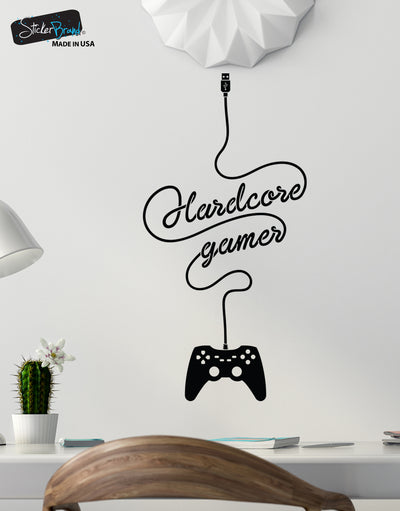 Hardcore Gamer Wall Decal Sticker Design, Perfect for your Xbox / Playstation Gamer. #6098