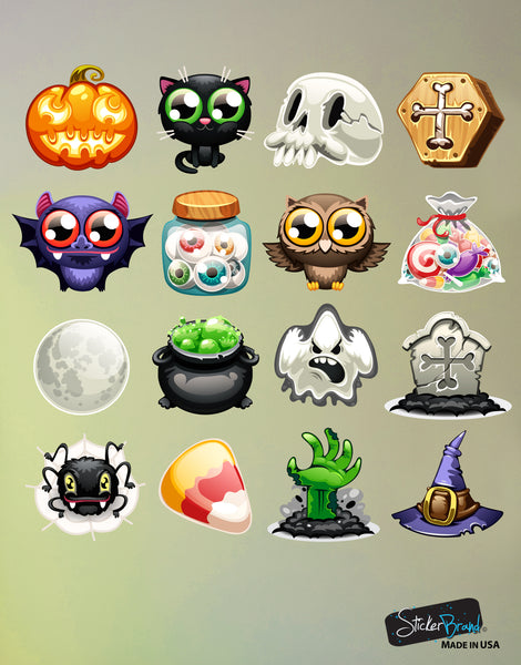 Halloween Emojis Wall Decal Sticker Includes: Pumpkins, Ghost, Spider, Skull, Grave, Bats, Owls, Eyeballs, Candy, Set of 16 #6100