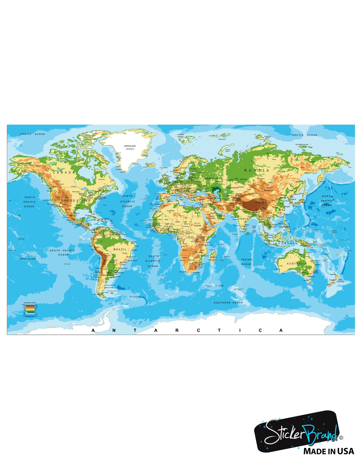 World map poster educational wall map guide with elevation chart p1 world map poster educational wall map guide with elevation chart p1002 gumiabroncs Gallery