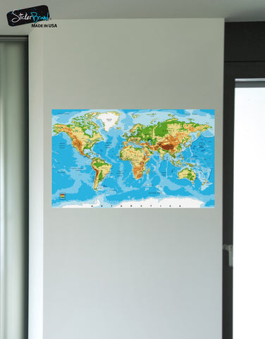 World Map Poster. Educational Wall Map Guide with Elevation Chart. #P1002