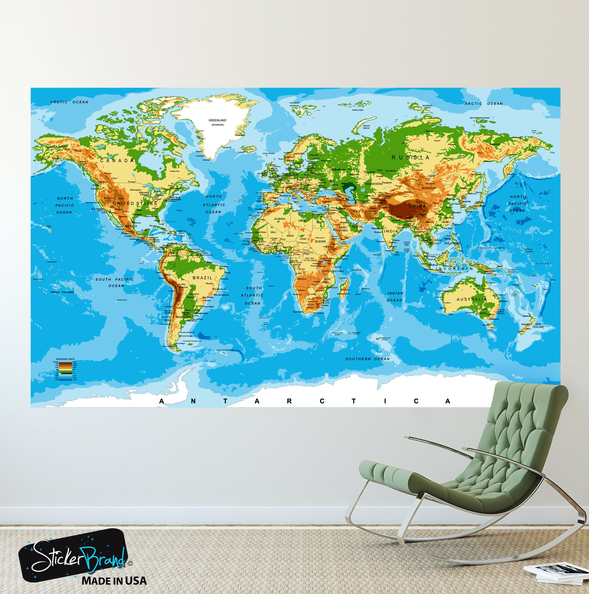 World map poster educational wall map guide with elevation chart p1 world map poster educational wall map guide with elevation chart p1002 gumiabroncs Images