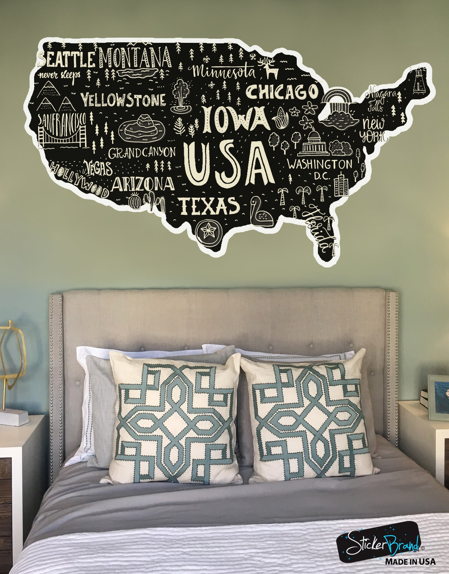 Hand Drawn Us Map.Hand Drawn Illustration Of Usa Map Graphic Wall Decal Sticker 6104