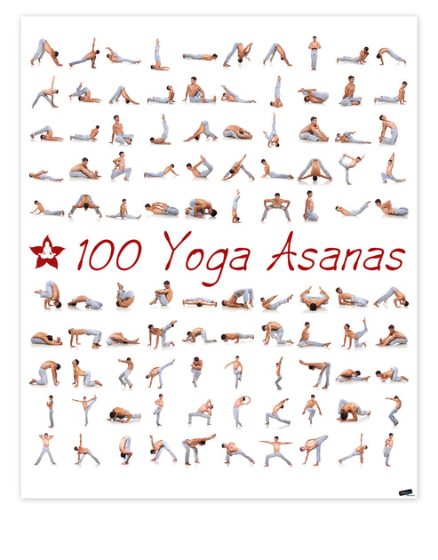 100 Yoga Poses Asanas Poster Instructional Graphic Poster For Yoga Studio Or Home 6109 Stickerbrand