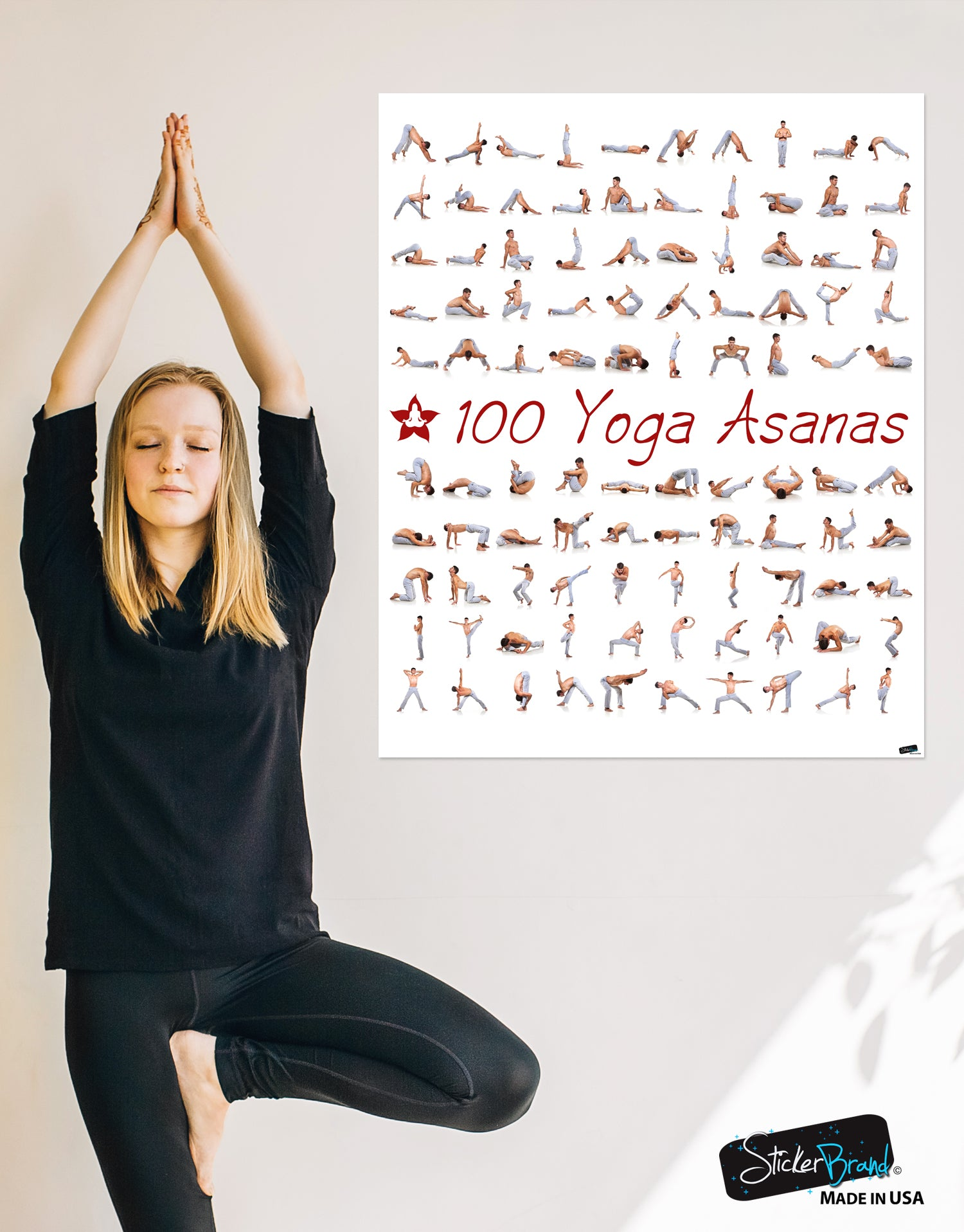 100 Yoga Poses Asanas Poster Instructional Graphic Poster For Yoga St