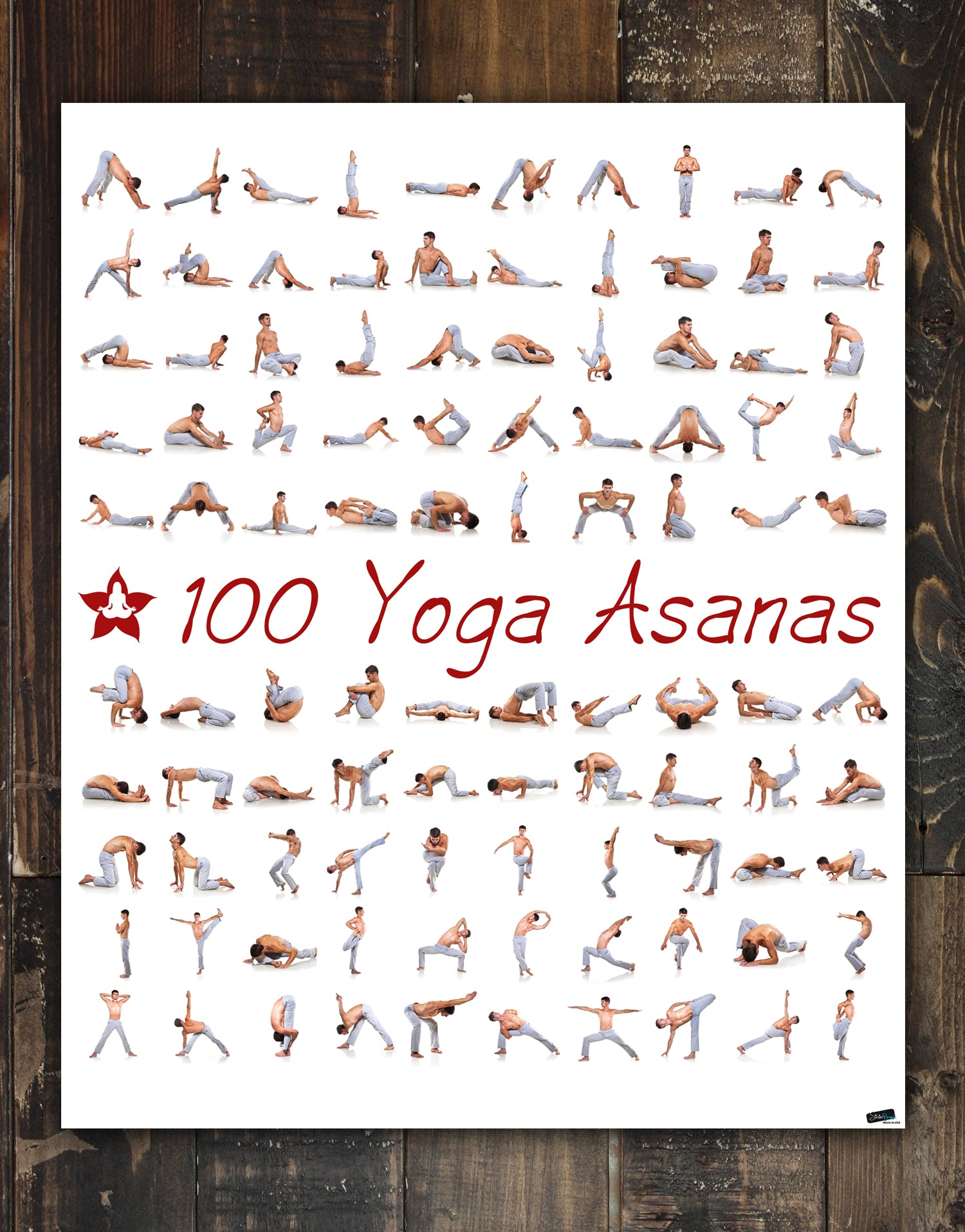 38 Yoga Poses Asanas Poster. Instructional Graphic Poster for