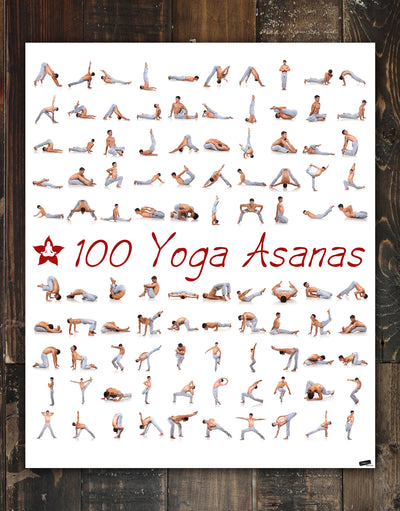 100 Yoga Poses Asanas Poster. Instructional Graphic Poster for Yoga Studio or Home. #6109