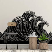 Japanese Typhoon Wave Abstract Vinyl Wall Decal Sticker #6110