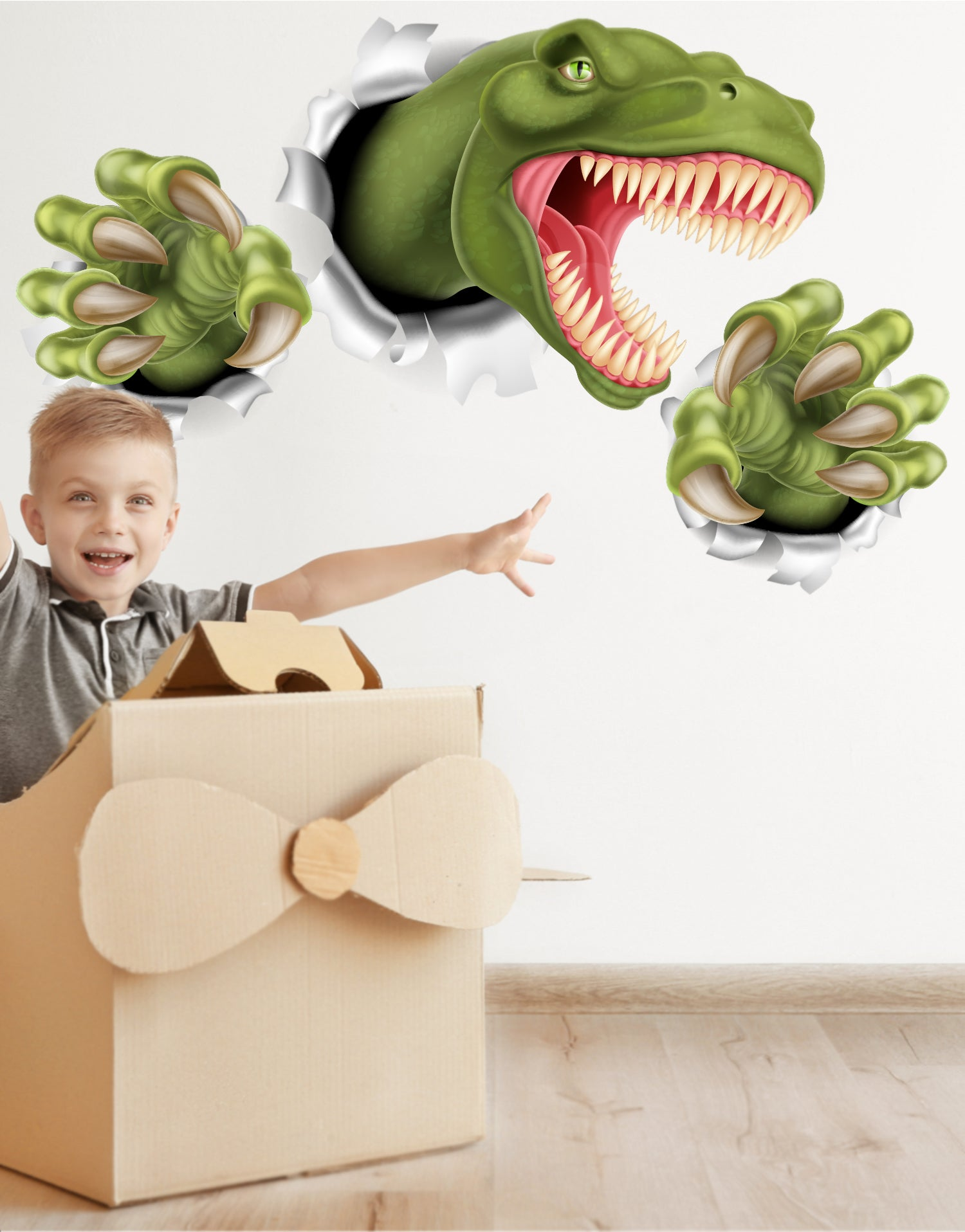 T-Rex Dinosaur Jumping out of wall. 3D Graphic Wall Decal Sticker. Peel and Stick. Removable and Reusable. #6115